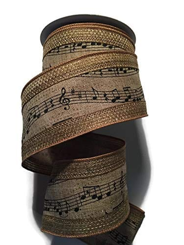 Music Notes RibbonChristmas Tree Garland In Classic Black And Tan 25 Wide X 10 Yards 0