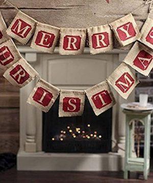 NUOLUX Merry Christmas Jute Burlap BannersChristmas BannerChristmas Decoration 0 300x360