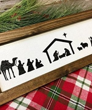 Nativity Scene Farmhouse Christmas Decor Wood Sign Manger Scene Rustic Christmas Decor Hand Painted Framed Sign 0 300x360