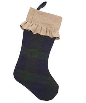 Natural Jute Ruffle Vail Plaid 21 Inch Cotton Decorative Christmas Stocking 0 300x360