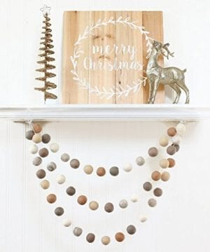 Neutral Felt Ball Garland Pom Pom Garland Nursery Decor Bunting Banner Party Decor Holiday Christmas Winter Decor Farmhouse Style 0 300x360