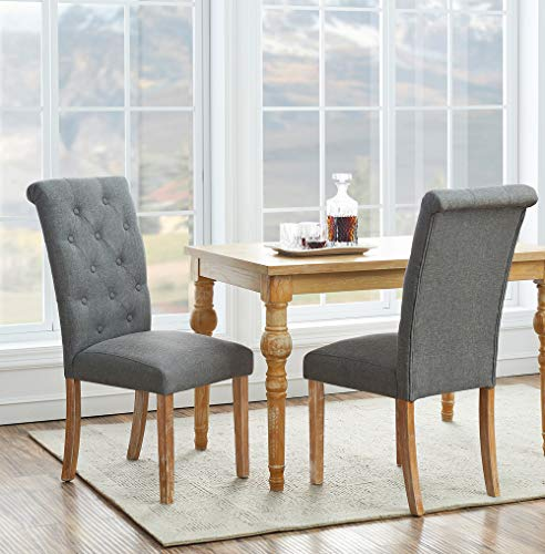 Solid Wood Tufted Dining Chairs Fabric