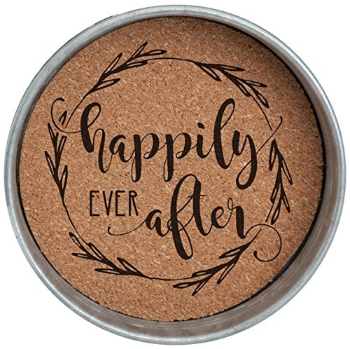 Occasionally Made O HSW CS AFT 4 Happily Ever After Mason Jar Lid Coaster Stack 4 Piece Set 0