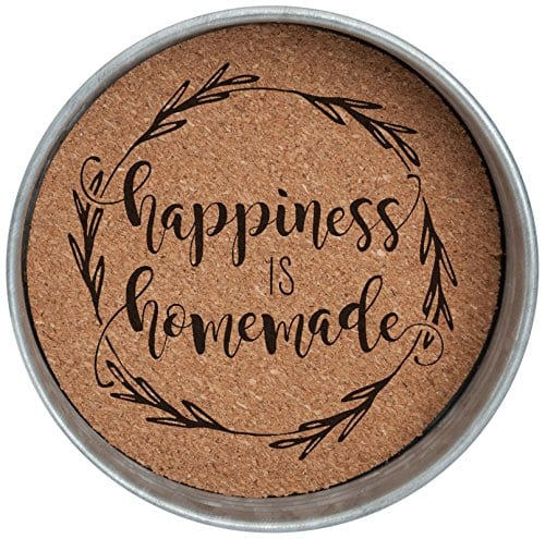Occasionally Made O HSW CS HAP 4 Happiness Is Homemade Mason Jar Lid Coaster Stack 4 Piece Set 0
