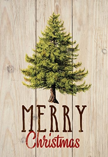 P GRAHAM DUNN Merry Christmas Evergreen Tree Natural 45 X 65 Solid Wood Mini Tabletop Sign 0