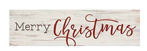 P GRAHAM DUNN Merry Christmas Whitewash 6 X 15 Wood Tabletop Toothpick Sign 0