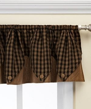 Park Designs Sturbridge Plaid Valance 72x14 Unlined Black Wine Navy 0 300x360