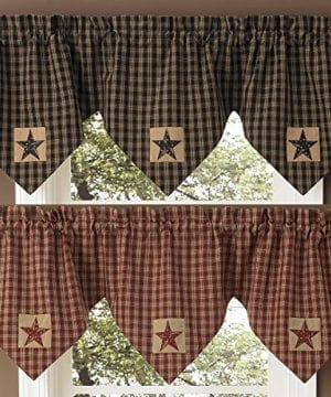 Park Designs Sturbridge Star Patch Lined Triple Point Valance By Black Or Wine 0 300x360
