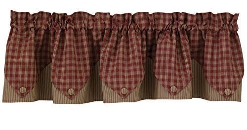 Park Designs Sturbridge Wine Lined Point Valance Curtain 72 Inches Wide By 15 Inches Tall 0