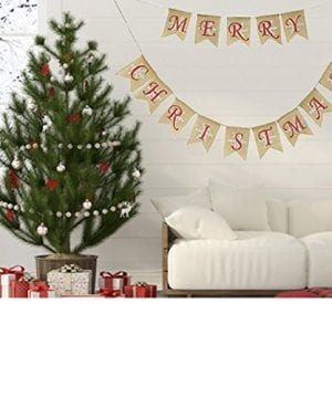 Partyprops Natural Jute Burlap Merry Christmas Garlands Banner For Holiday Decoration Displaying And Embellishing 0 0 300x360