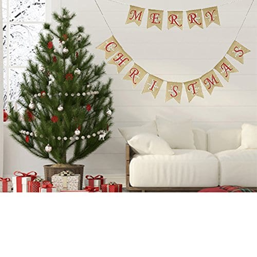 Partyprops Natural Jute Burlap Merry Christmas Garlands Banner For Holiday Decoration Displaying And Embellishing 0 0