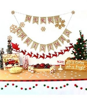 Partyprops Natural Jute Burlap Merry Christmas Garlands Banner For Holiday Decoration Displaying And Embellishing 0 1 300x360