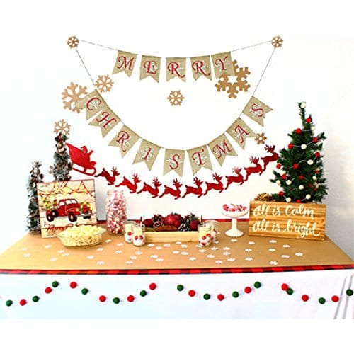 Partyprops Natural Jute Burlap Merry Christmas Garlands Banner For Holiday Decoration Displaying And Embellishing 0 1