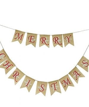 Partyprops Natural Jute Burlap Merry Christmas Garlands Banner For Holiday Decoration Displaying And Embellishing 0 300x360