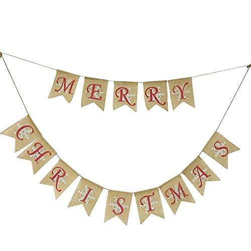 Partyprops Natural Jute Burlap Merry Christmas Garlands Banner For Holiday Decoration Displaying And Embellishing 0