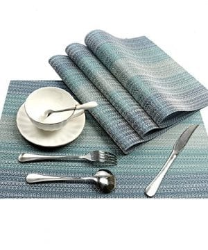 Pauwer Placemats Set Of 6 Crossweave Woven Vinyl Placemat Kitchen Table Heat Resistant Non Slip Kitchen Table Mats Easy To Clean 0 1 300x360