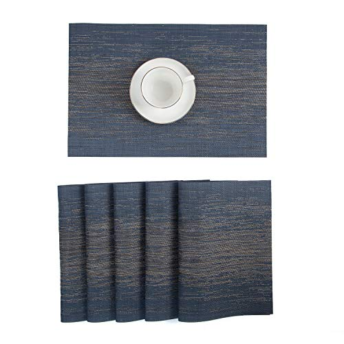 Pauwer Placemats Set Of 6 Crossweave Woven Vinyl Placemat Kitchen Table Heat Resistant Non Slip Kitchen Table Mats Easy To Clean 0 4