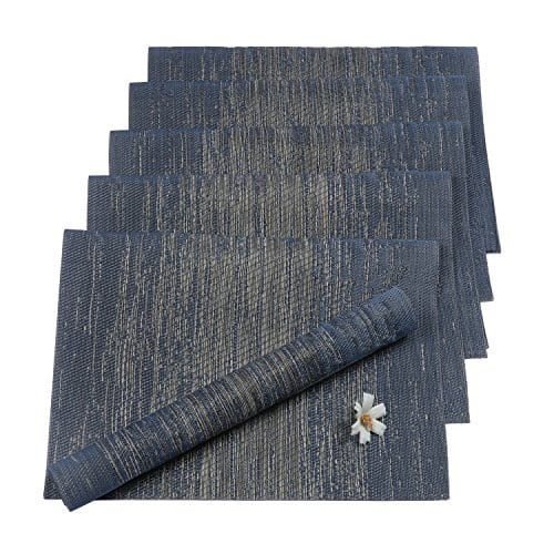 Pauwer Placemats Set Of 6 Crossweave Woven Vinyl Placemat Kitchen Table Heat Resistant Non Slip Kitchen Table Mats Easy To Clean 0 8