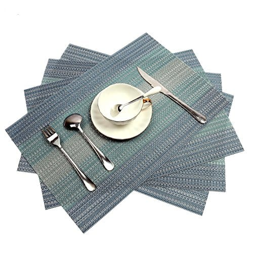 Pauwer Placemats Set Of 6 Crossweave Woven Vinyl Placemat Kitchen Table Heat Resistant Non Slip Kitchen Table Mats Easy To Clean 0