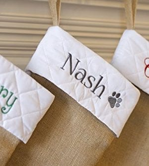 Personalized Christmas Stocking Natural Burlap With White Quilted Cuff Customized With Red Green Silver Gray Gold Navy Name 0 2 300x333