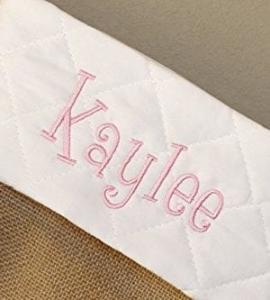 Personalized Christmas Stocking Natural Burlap With White Quilted Cuff Customized With Red Green Silver Gray Gold Navy Name 0 3 300x333