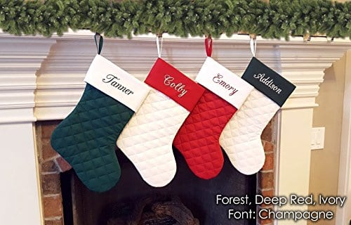 Personalized Christmas Stocking Quilted Deep Red Ivory And Forest Green 0 0