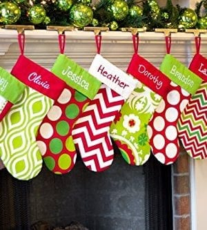 Personalized Christmas Stocking Red Lime White Green Patterns 18 Styles 0 2 300x333