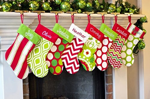 Personalized Christmas Stocking Red Lime White Green Patterns 18 Styles 0 2