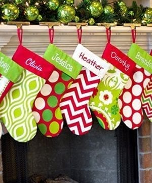 Personalized Christmas Stocking Red Lime White Green Patterns 18 Styles 0 300x360
