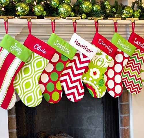 Personalized Christmas Stocking Red Lime White Green Patterns 18 Styles 0