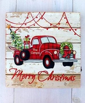 Personalized LIT Christmas Sign RED TRUCK Christmas Tree Farm Buffalo Check Plaid Wood Home Decor 0 0 300x360