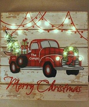 Personalized LIT Christmas Sign RED TRUCK Christmas Tree Farm Buffalo Check Plaid Wood Home Decor 0 300x360