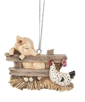 Pig Charlotte Hen Chicken Barn Animal Bird Christmas Tree Ornament Web 0 300x360