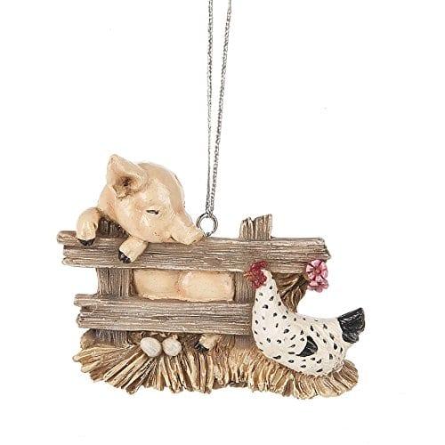 Pig Charlotte Hen Chicken Barn Animal Bird Christmas Tree Ornament Web 0