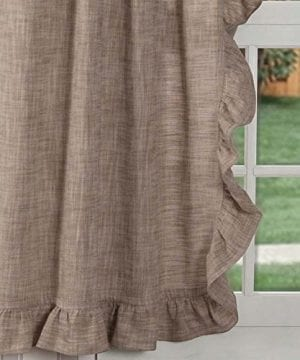 Piper Classics Ashley Taupe Ruffled Valance Curtain 16x72 Farmhouse Style Dark Beige Ruffled Window Topper 0 0 300x360