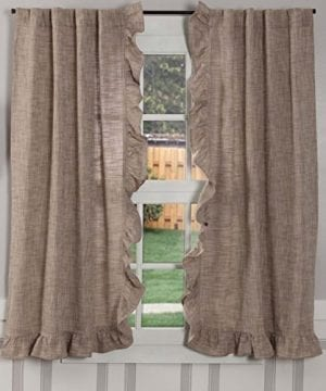 Piper Classics Ashley Taupe Ruffled Valance Curtain 16x72 Farmhouse Style Dark Beige Ruffled Window Topper 0 300x360