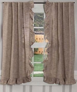 Piper Classics Ashley Taupe Ruffled Valance Curtain 16x72 Farmhouse Style Dark Beige Ruffled Window Topper 0 300x360