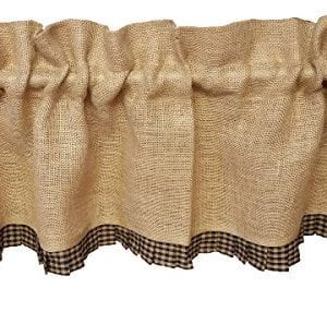 Primitive Country Burlap Black Check Ruffle Window Valance 0 300x286