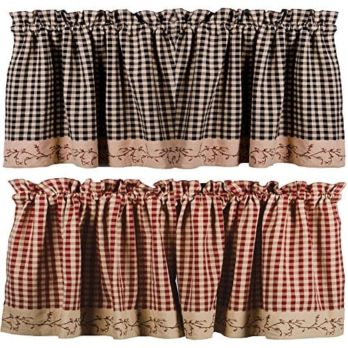 Primitive Home Decors Country Berry Vine Check Valance Red Or Black 0