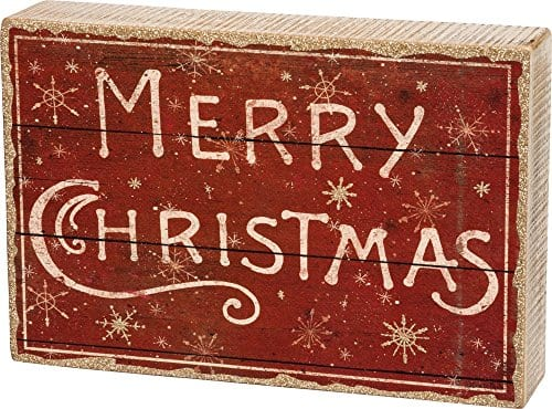 Primitives By Kathy Distressed Red And White Box Sign Merry Christmas 0