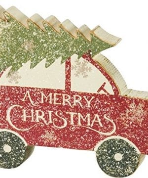 Primitives By Kathy Rustic Car With Tree Chunky Sitter Christmas Sign 0 300x360