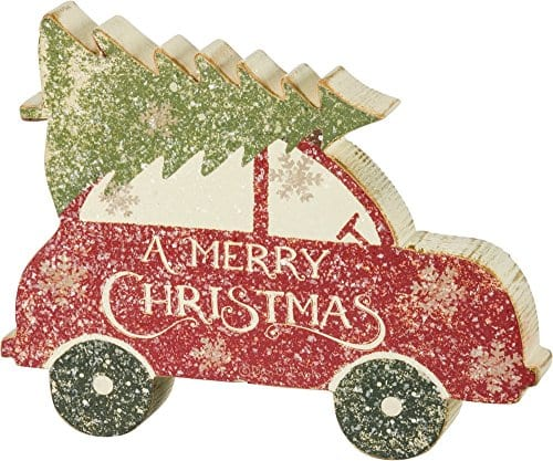 Primitives By Kathy Rustic Car With Tree Chunky Sitter Christmas Sign 0
