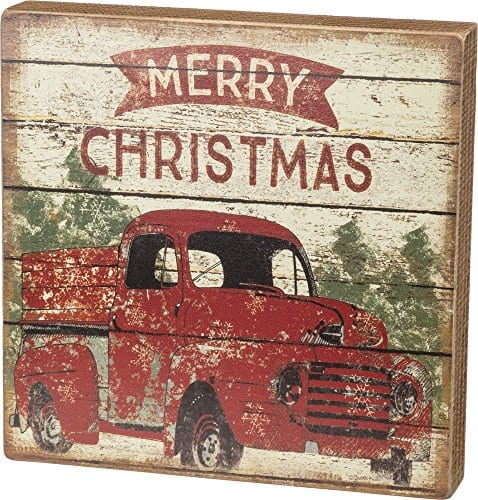 Primitives By Kathy Rustic Merry Christmas Truck Box Sign 0