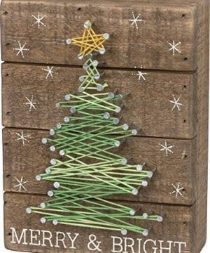 Primitives By Kathy Slat String Art Box Sign Merry Bright 0 300x360