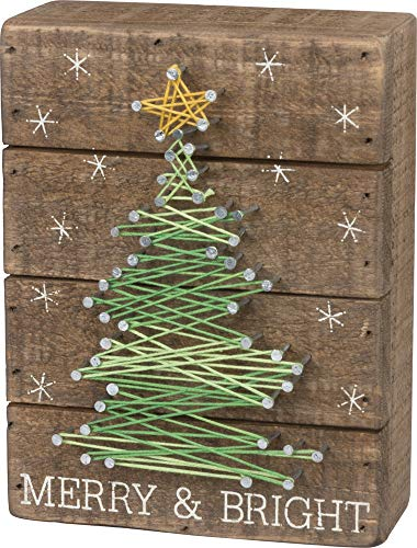 Primitives By Kathy Slat String Art Box Sign Merry Bright 0