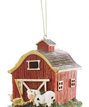 Red Barn Farmyard 4 X 4 Inch Resin Stone Christmas Ornament Decoration 0 300x360