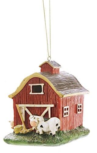 Red Barn Farmyard 4 X 4 Inch Resin Stone Christmas Ornament Decoration 0
