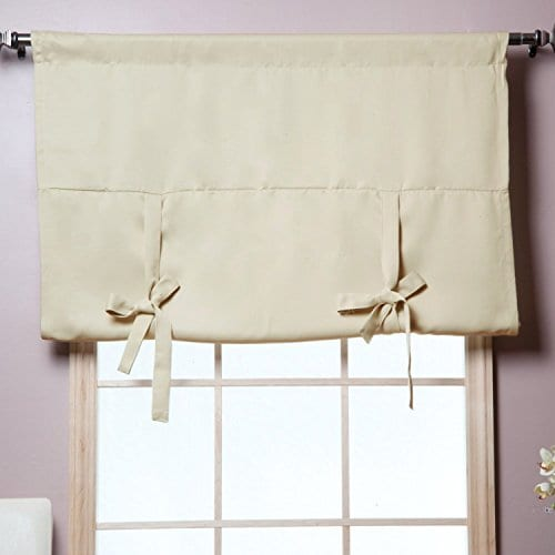 Rose Home Fashion Thermal Insulated Blackout Balloon Curtain For Small Window Rod Pocket Adjustable Tie Up Balloon Shade Curtains Beige 42 By 63 Inches 0 0