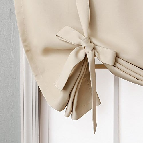 Rose Home Fashion Thermal Insulated Blackout Balloon Curtain For Small Window Rod Pocket Adjustable Tie Up Balloon Shade Curtains Beige 42 By 63 Inches 0 1