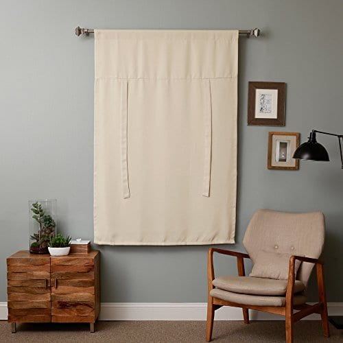 Rose Home Fashion Thermal Insulated Blackout Balloon Curtain For Small Window Rod Pocket Adjustable Tie Up Balloon Shade Curtains Beige 42 By 63 Inches 0 2